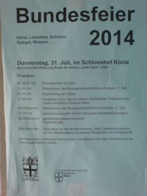 Programm 1. August-Feier 2014 Köniz