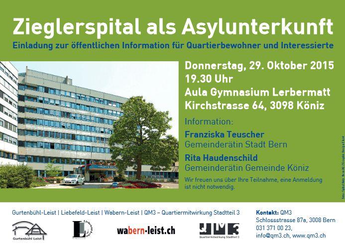 Asylunterkunft Zieglerspital - Informationsanlass 29 Oktober 2015