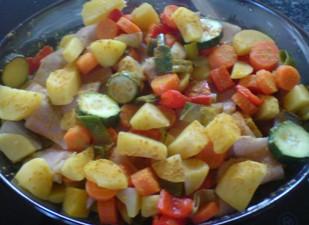 Curry-Felchen-Gemüse-Eintopf