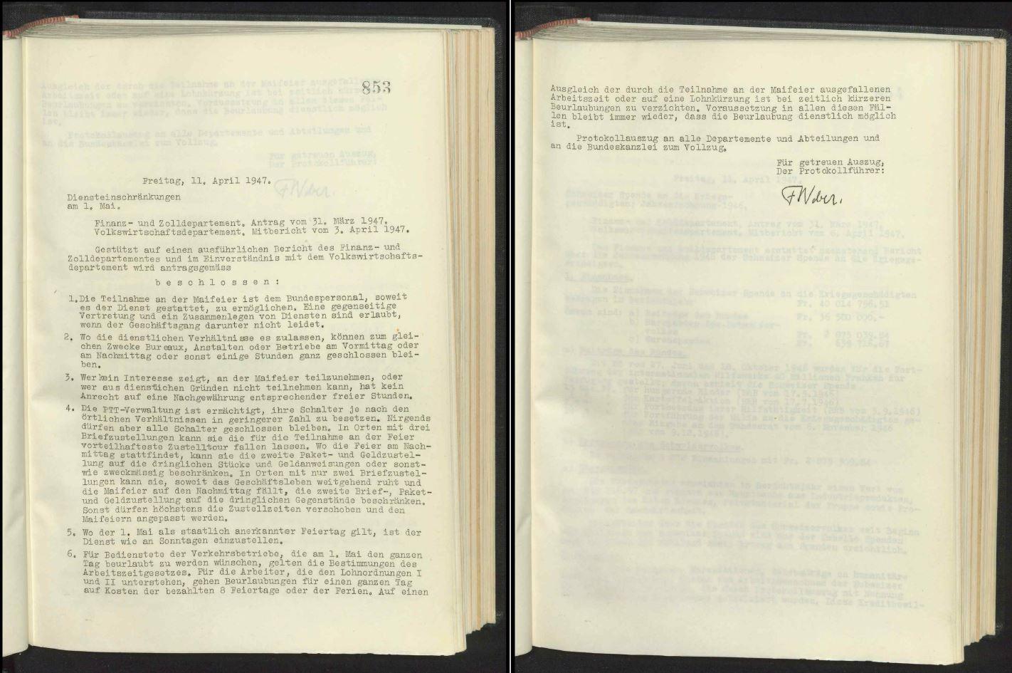 Auszug aus dem Protokoll des Bundesrates vom 11. April 1947 zu den Diensteinschränkung am 1. Mai