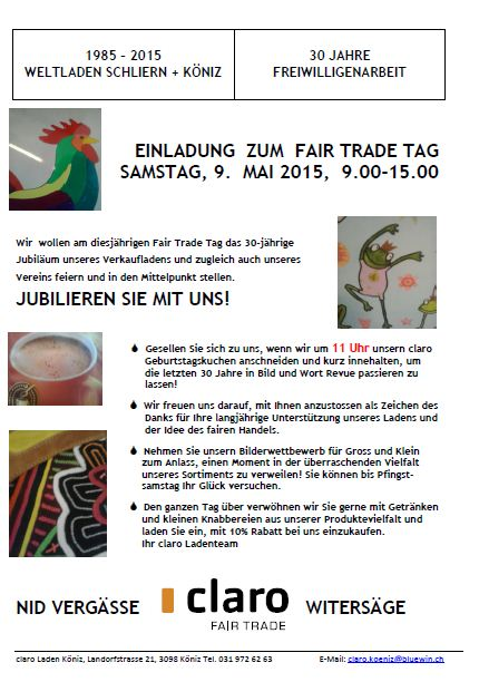 Fair Trade-Tag 2015  im Claro Weltladen Köniz
