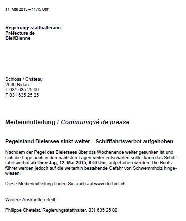 Hochwasser Bielersee 2015 - - Schifffahrtsverbot aufgehoben