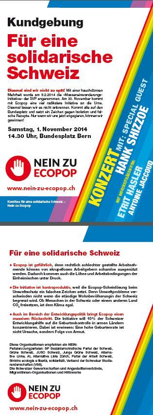 Kundgebung Für eine solidarische Schweiz - Nein zu Ecopop