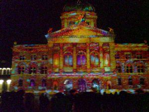 Lichtshow Bundesplatz Bern 2014