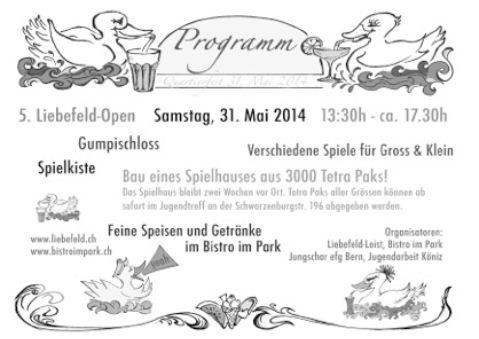 Programm Liebefeld Open 2014