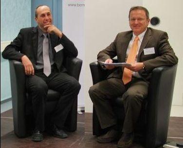 Manfred Bühler (links) und Maxime Zuber (rechts) anlässlich der Pressekonferenz