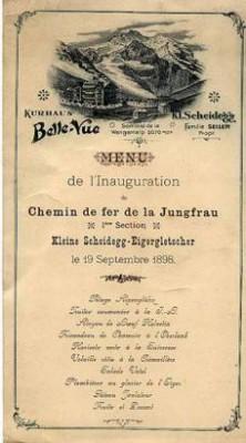 Menukarte Einweihung Jungfraubahn 1898