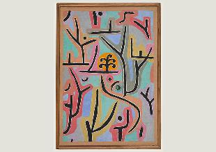 Paul Klee, Park bei Lu., 1938, 129, Öl- und Kleisterfarbe auf Papier auf Jute; originale Rahmenleisten, 100 x 70 cm, Zentrum Paul Klee, Bern