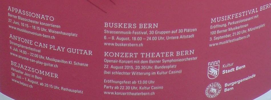 Programm Kultursommer Bern 2015