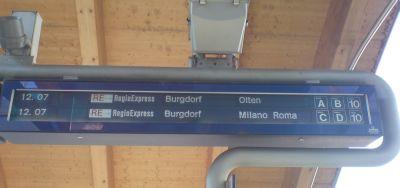 Regioexpress Bern Burgdorf Milano Roma