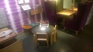 Spieltisch im Restaurant Tibits an der Gurtengasse