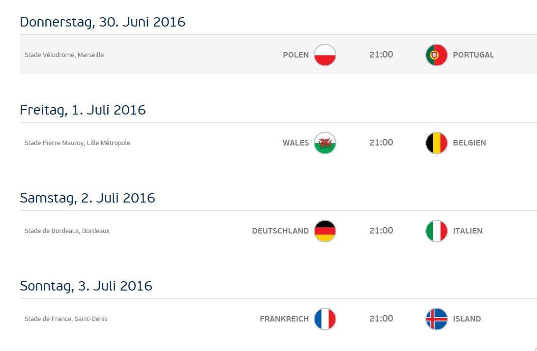 Spielplan EM 2016 - Viertelfinal