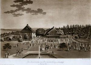 Steinhölzli-Fest 1834: Die Handwerks-gesellen-versamlung, im Steinholzli am 27. Juli 1834 (Quelle: Burgerbibliothek Bern)