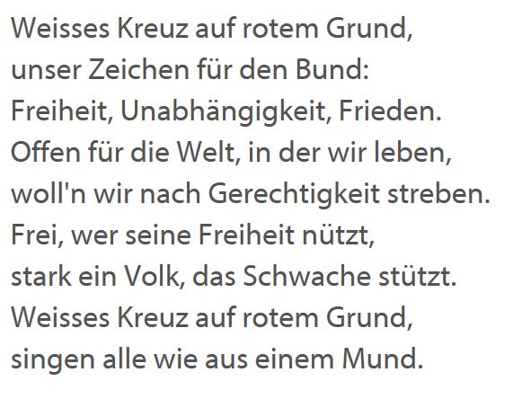 Text neue Schweizer Nationalhymne (Werner Widmer, SGG)