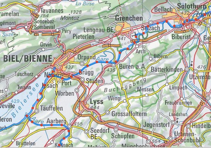 Veloweg Aarberg - Biel - Solothurn