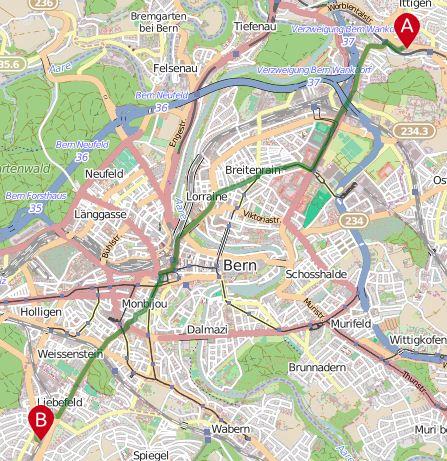 Veloroutenplaner Bern - von Ittigen nach Liebefeld