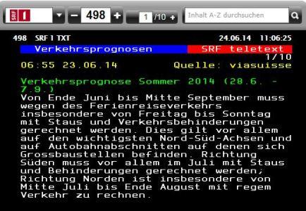 Verkehrsprognose Schweiz Sommer 2014