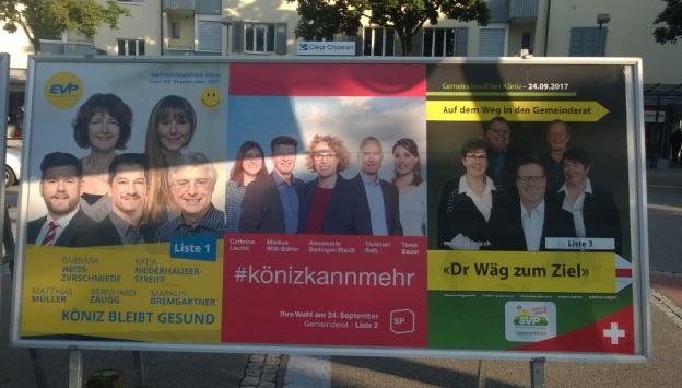 Wahlplakate von EVP, SP und SVP für die Gemeindewahlen Köniz 2017