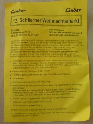 Programm Weihnachtsmarkt Schliern 2013