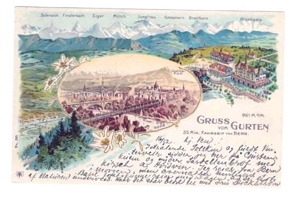 Lithografie Gruss vom Gurten 1901