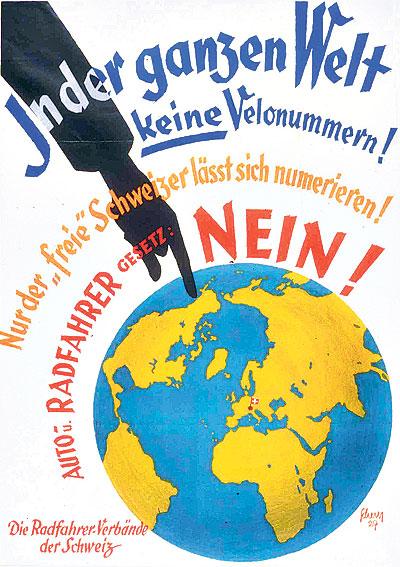 Abstimmungsplakat zur Velovignette in den 30er Jahren