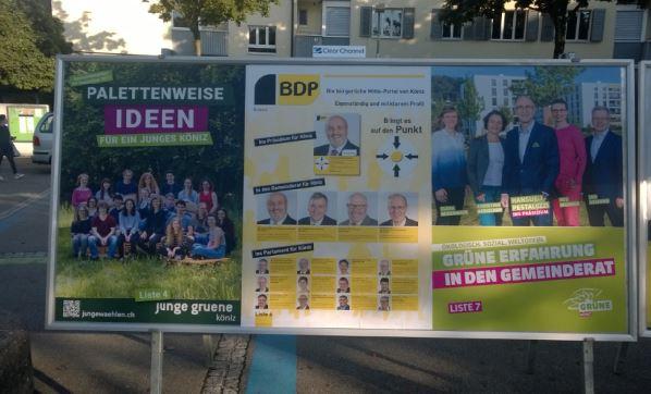 Wahlplakate von junge gruene, BDP und Grüne für die Gemeindewahlen Köniz 2017