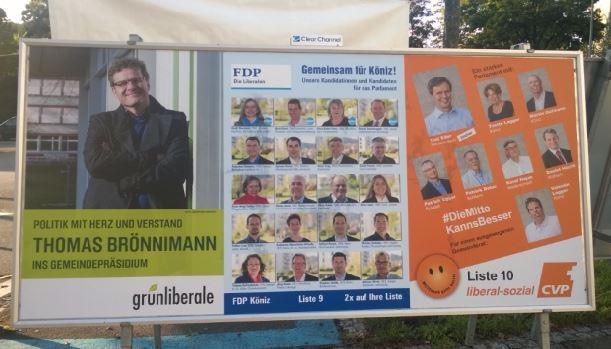 Wahlplakate von grünliberale, FDP und CVP für die Gemeindewahlen Köniz 2017